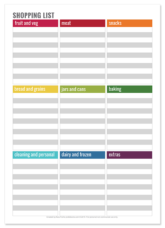 Free printable shopping list plus meal planning printables and tips for meal planning.