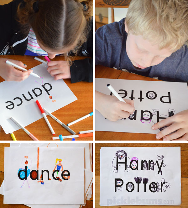 Word Drawing - an easy art  and literacy activity for kids