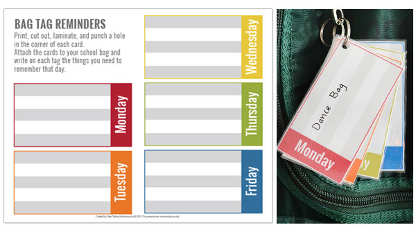 Free printable bag tag reminders for kids