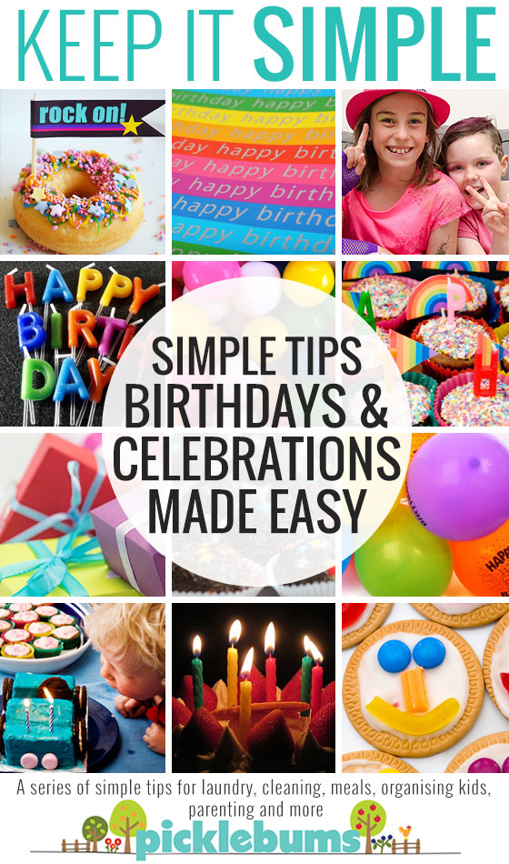 Simple tips and ideas for making birthdays and celebrations easy! PLus a free printable party planner.