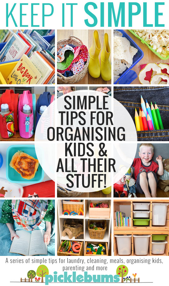 Simple tips for organising kids and all their stuff - plus a great free printable bag tag reminder system