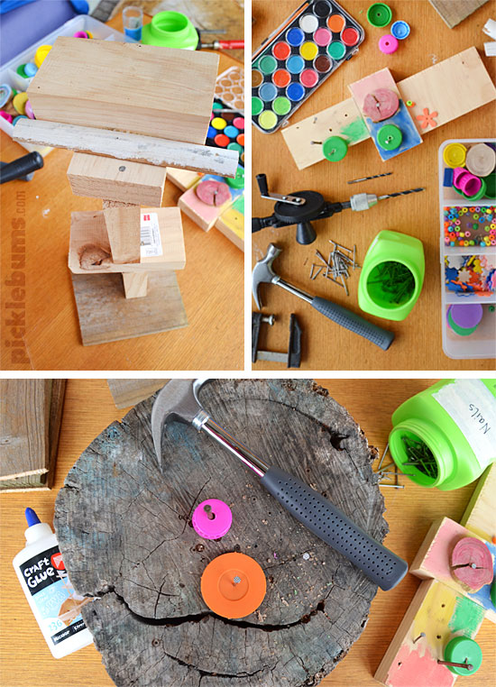 What to include in a wood working set for kids - put together your own set and add some of these unusual items for lots of construction and creativity