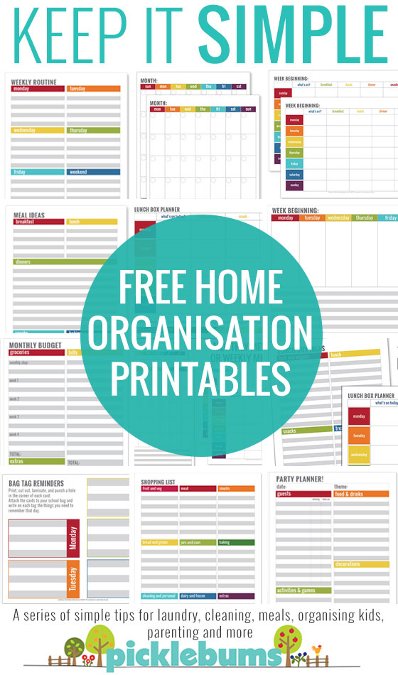 Simple Home Organisation Printables Picklebums