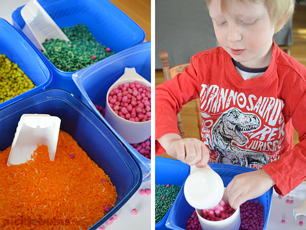 Four recycled tubs and three easy ways to play -sensory play