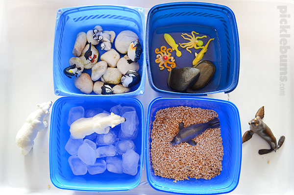 Four recycled tubs and three easy ways to play - small world play