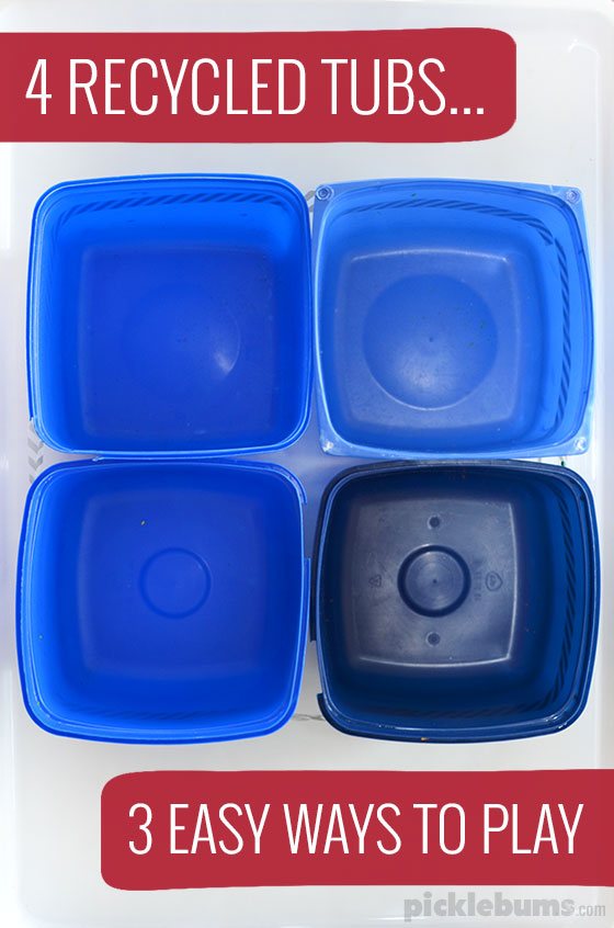 Four recycled tubs and three easy ways to play with this simple set up! Because doing activities with your kids doesn't have to be time consuming or complicated!
