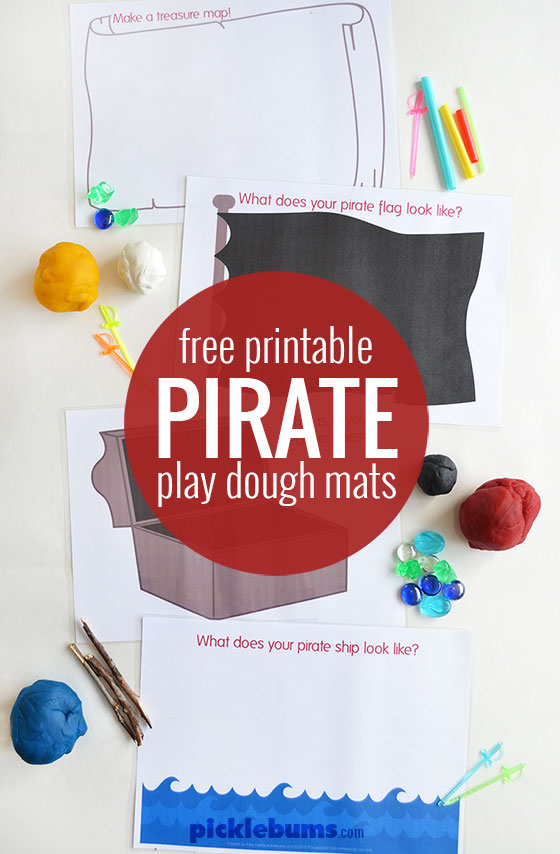 Free printable pirate themed play dough mats