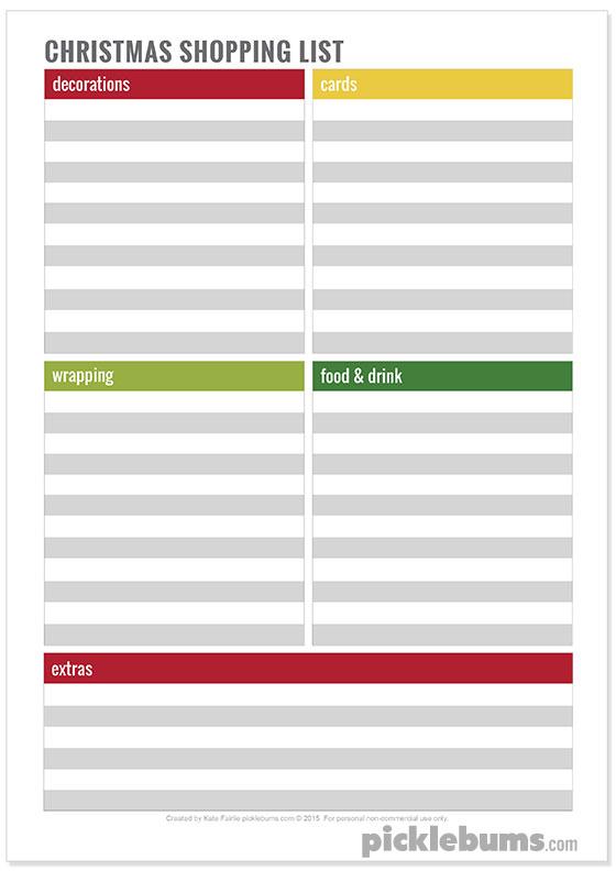 Simple Tips for a Calm Christmas - free printable Christmas Shopping List