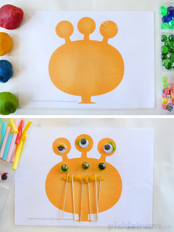 Free printable monster play dough mats