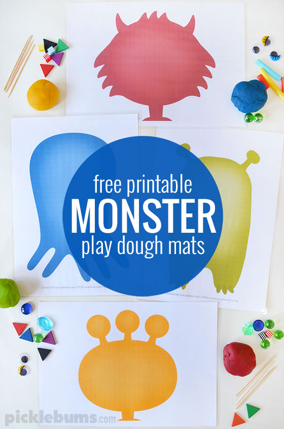 Monster Play Dough Mats - Free Printable - Picklebums