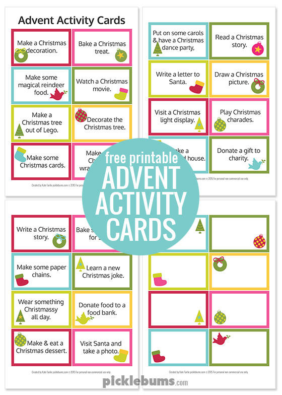 free printable advent activity cards