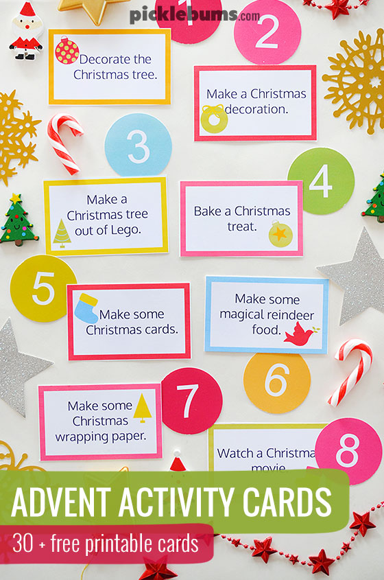 Free printable advent activity cards  - make your own countdown to Christmas