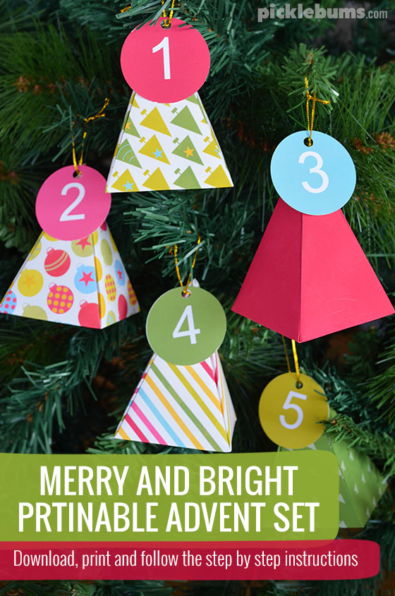 Merry and Bright Printable Advent Set - simple download, print and follow the step by step instructions to make a personal Christmas countdown