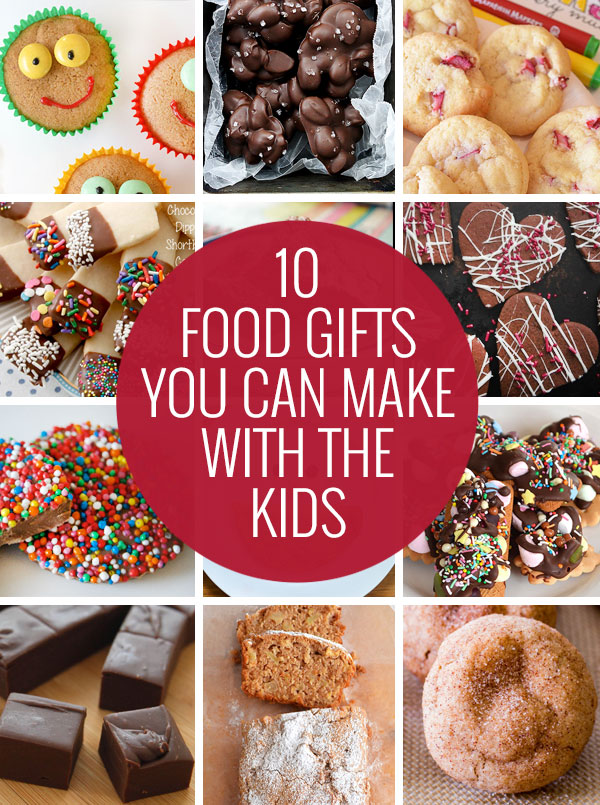 Ten delicious food gifts you can make withe the kids - plus free printable recipe cards so you can share the recipe too!