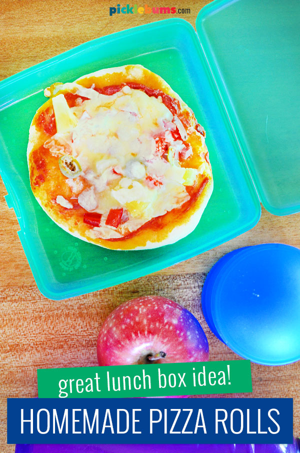 homemade pizza roll in lunch box