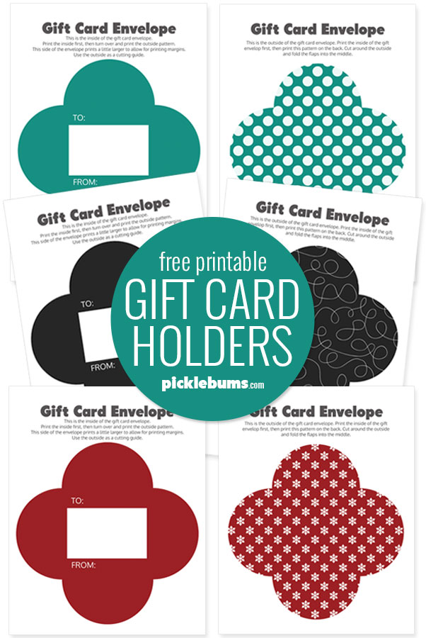 printable gift card holder pages