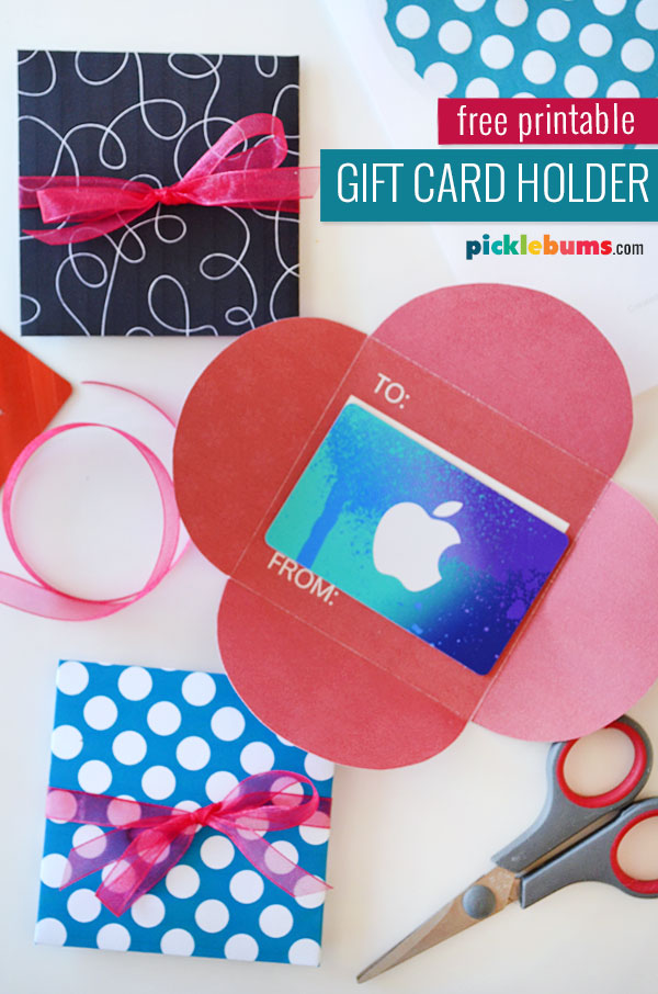 gift cards in printable gift card holder