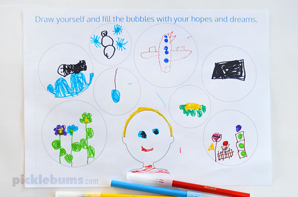 Hopes and Dreams - a free printable drawing prompt to record your hopes, dreams and wishes for the new year