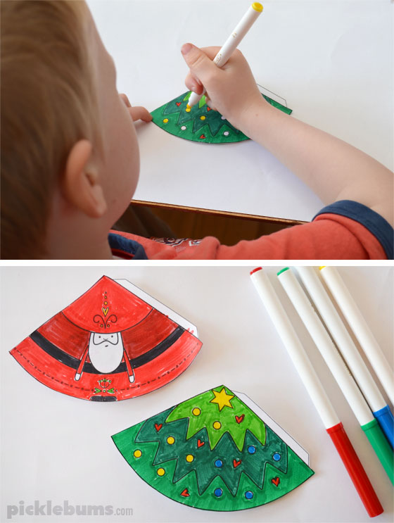 Paper Cone Christmas decorations - make Santa and a Christmas tree using this easy free printable