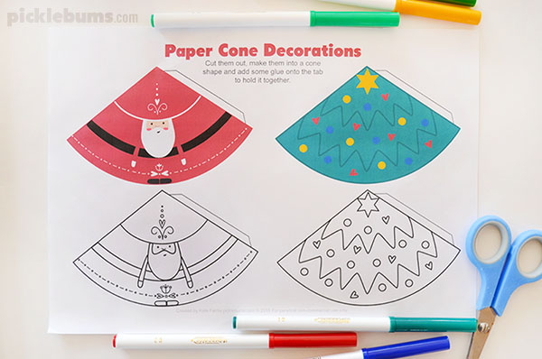 Paper cone Christmas decorations - make Santa and a Christmas tree with this free printable