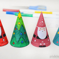 Paper Cone Christmas Decorations – Free Printable