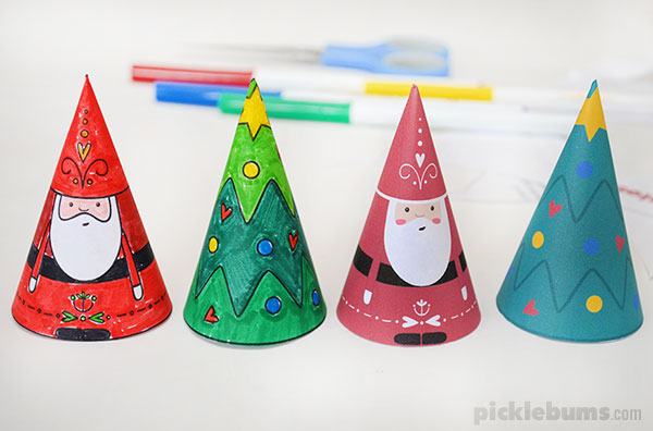 paper cone christmas decorations - free printable