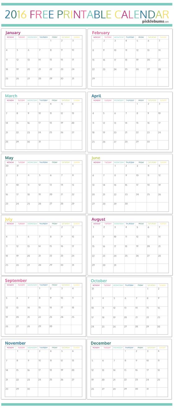 Free printable 2016 calendar - A4 sized version, A5 sized version plus ...