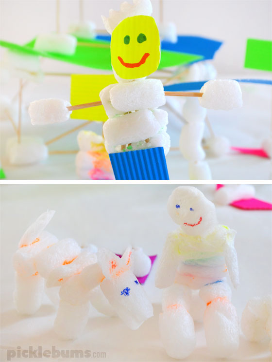 Packing Peanut Fun! Creating and building with this fun, low mess, recycled craft material.
