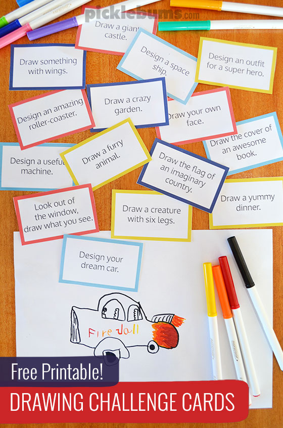 Free Printable Drawing Challenge Cards - Picklebums