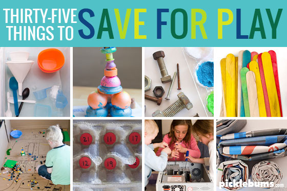 35 things to save for play - a huge list of items to reuse and recycle and loads of ideas for how to use them for art, crafts, play and learning.