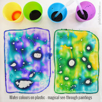 Water Colours on Plastic - a magical see-through painting activity