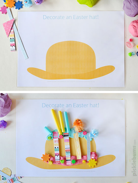 Free printable Easter play dough mats - decorate an Easter hat