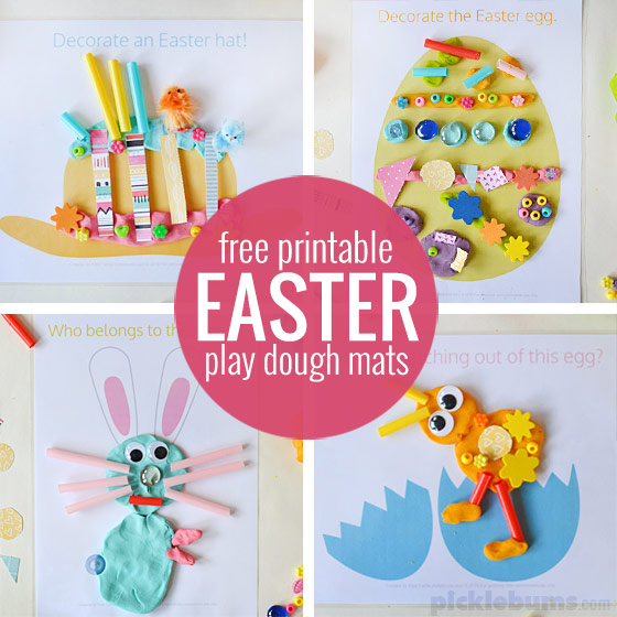 Free printable Easter play dough mats