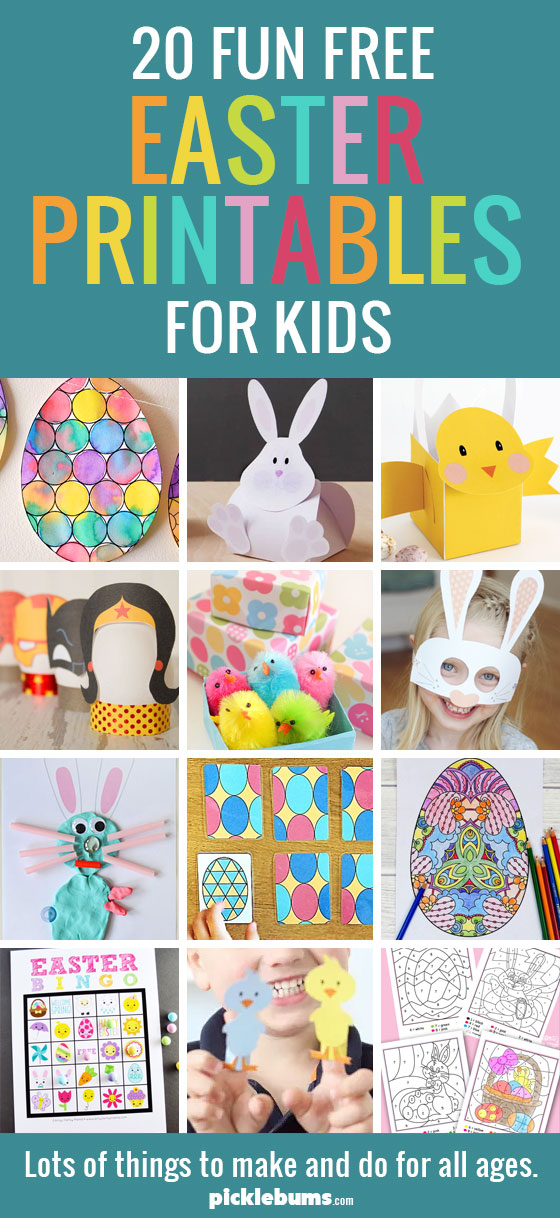 20+ fun free Easter printables for kids - things to make and do for all ages.