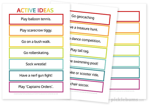 Active Ideas - print them out and make your own activity jar