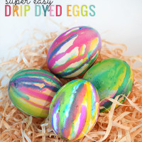 Super easy Easter activity - drip dyed Easter eggs