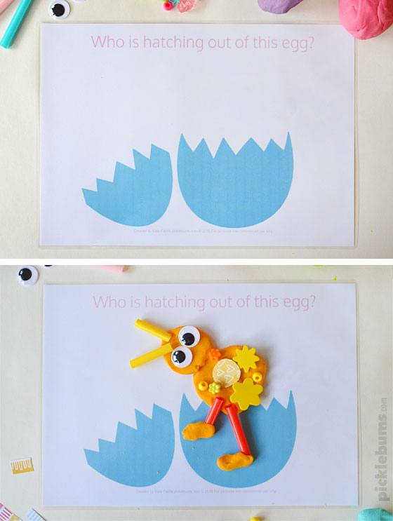 Free printable Easter play dough mats - Who is hatching out of this egg?