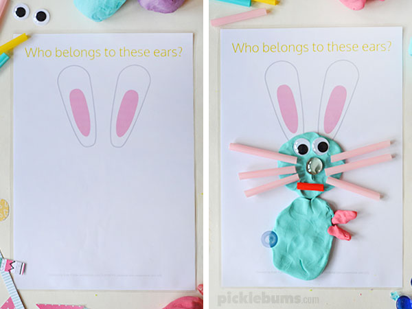 Free printable Easter play dough mats - Who belongs to these ears?
