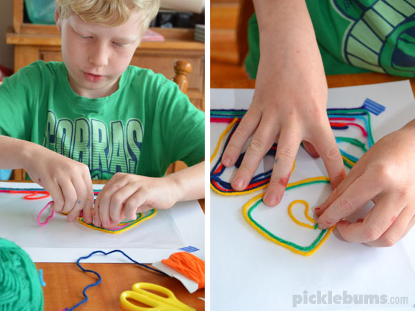 Would you like to paint without using any paint? Try yarn painting!