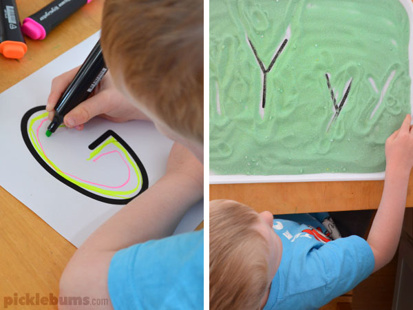 Free printable alphabet pages - lots of great hands on letter learning activities.