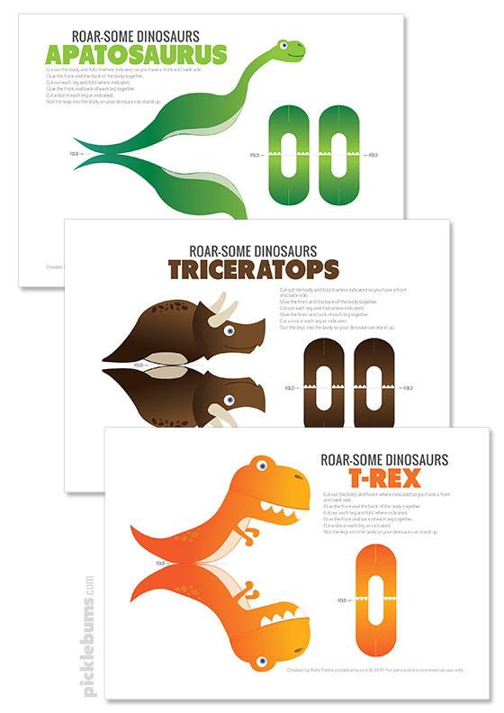 Free printable 3D dinosuars