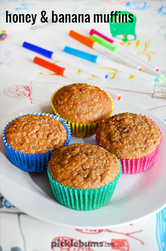 Honey and Banana Muffins - made with oats and wholegrain flour with no refined sugar, a great after school snack