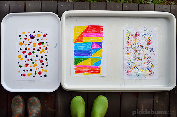 Three ways to paint with rain = try these fun easy rain painting techniques!