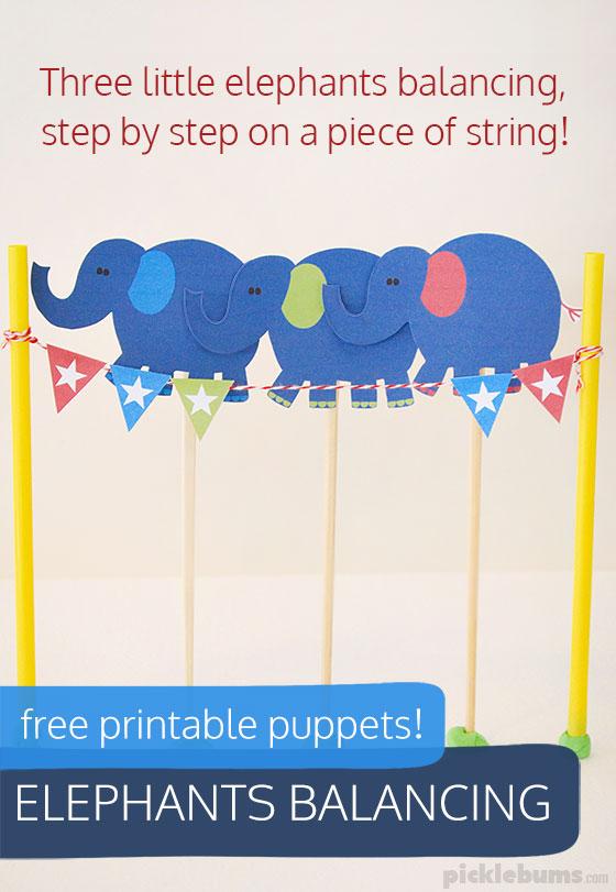 Elephants Balancing - free printable puppets!