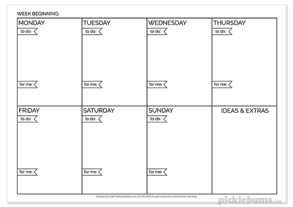 Put Yourself on the List Weekly Planner - Free printable planner with space to things that look after you as well as all the other stuff