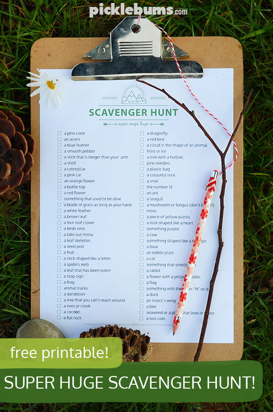 Free printable super, mega, huge scavenger hunt! Now you have no excuse not to get outside!