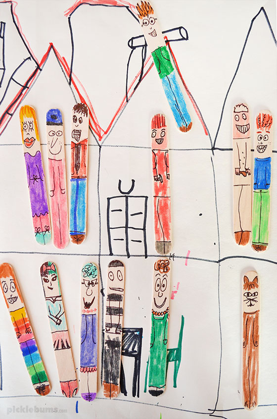 Easy craft stick people - a simple, low-mess creative activity for all ages