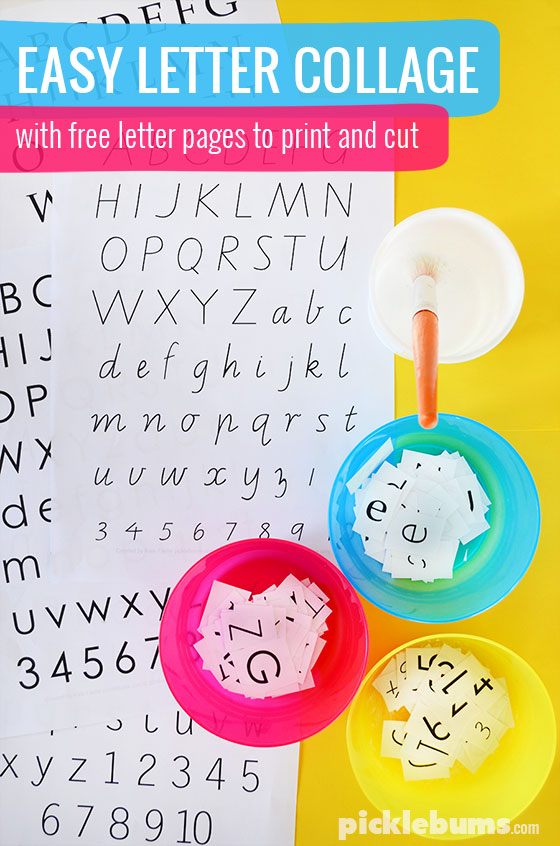 Easy Letter Collage - download an print our free letter pages and try this simple learning activity