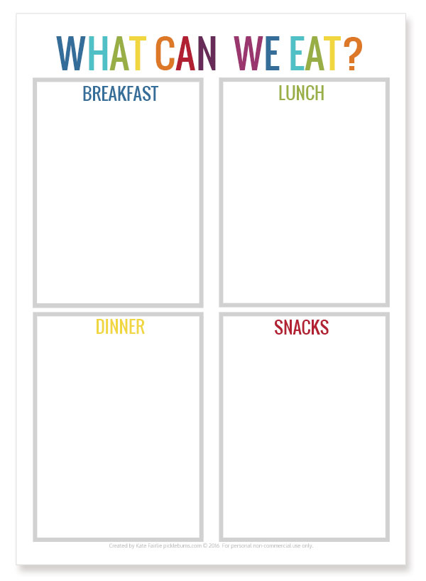What can we eat? Free printable menu so the kids stop asking you about food all the time!