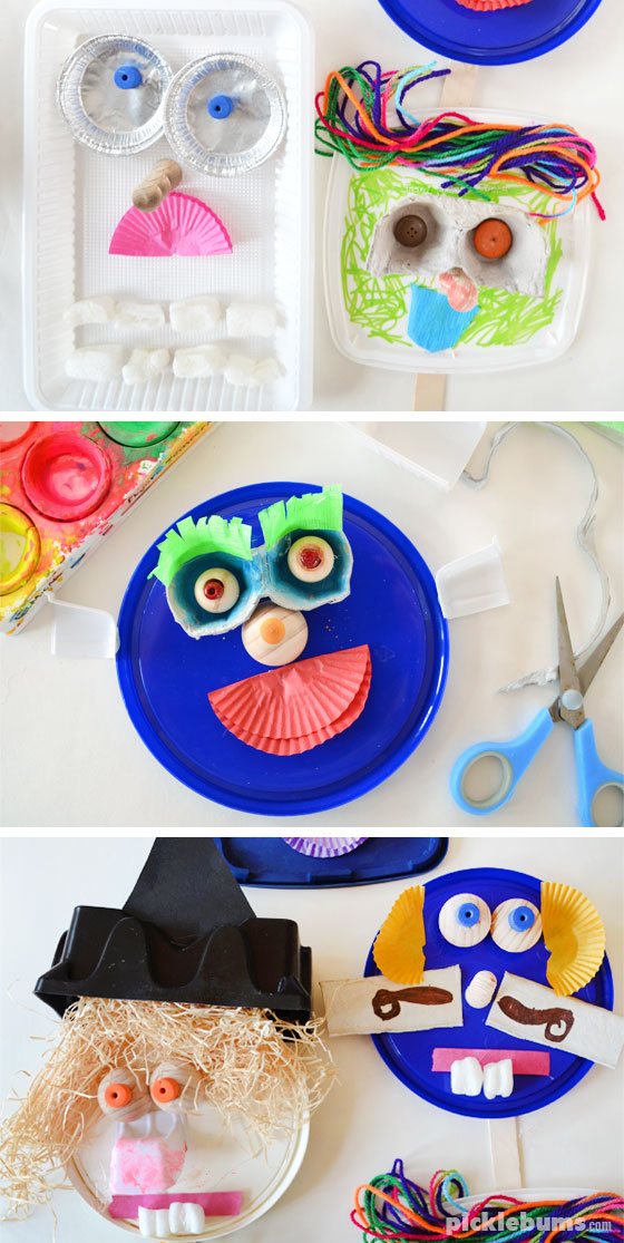 Make some funny faces from recycled materials!